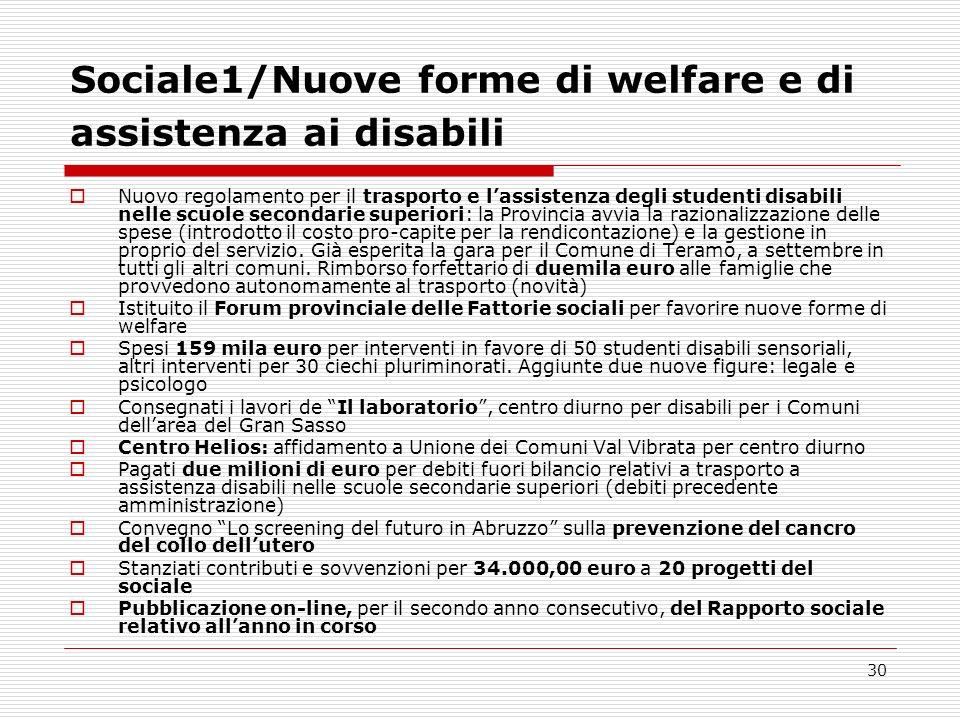 30 Sociale1/Nuove forme di welfare e di assistenza ai disabili Nuovo regolamento per il trasporto e lassistenza degli studenti disabili nelle scuole s