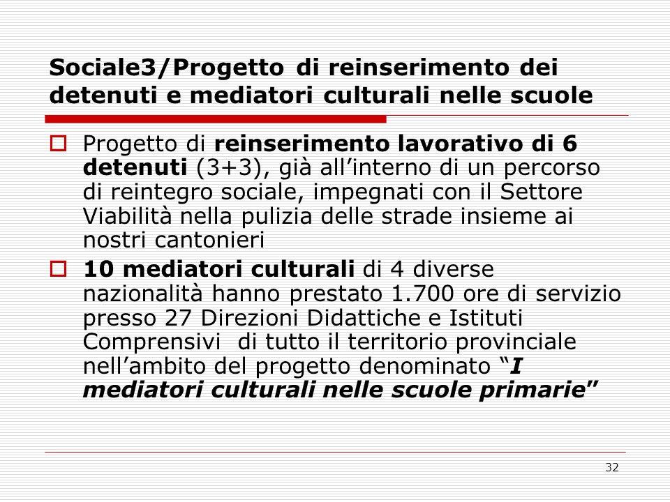 32 Sociale3/Progetto di reinserimento dei detenuti e mediatori culturali nelle scuole Progetto di reinserimento lavorativo di 6 detenuti (3+3), già al