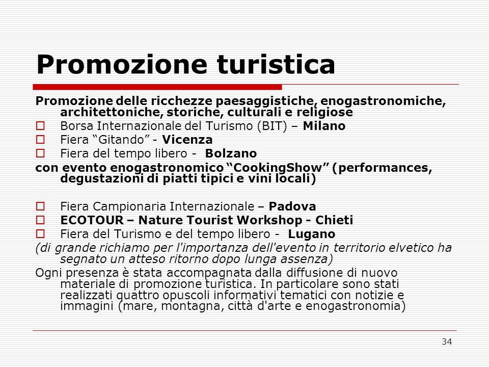 34 Promozione turistica Promozione delle ricchezze paesaggistiche, enogastronomiche, architettoniche, storiche, culturali e religiose Borsa Internazio