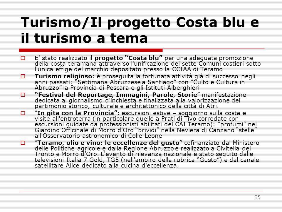 35 Turismo/Il progetto Costa blu e il turismo a tema E' stato realizzato il progetto Costa blu per una adeguata promozione della costa teramana attrav