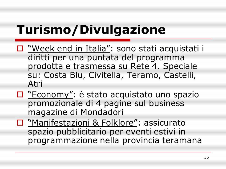 36 Turismo/Divulgazione Week end in Italia: sono stati acquistati i diritti per una puntata del programma prodotta e trasmessa su Rete 4. Speciale su: