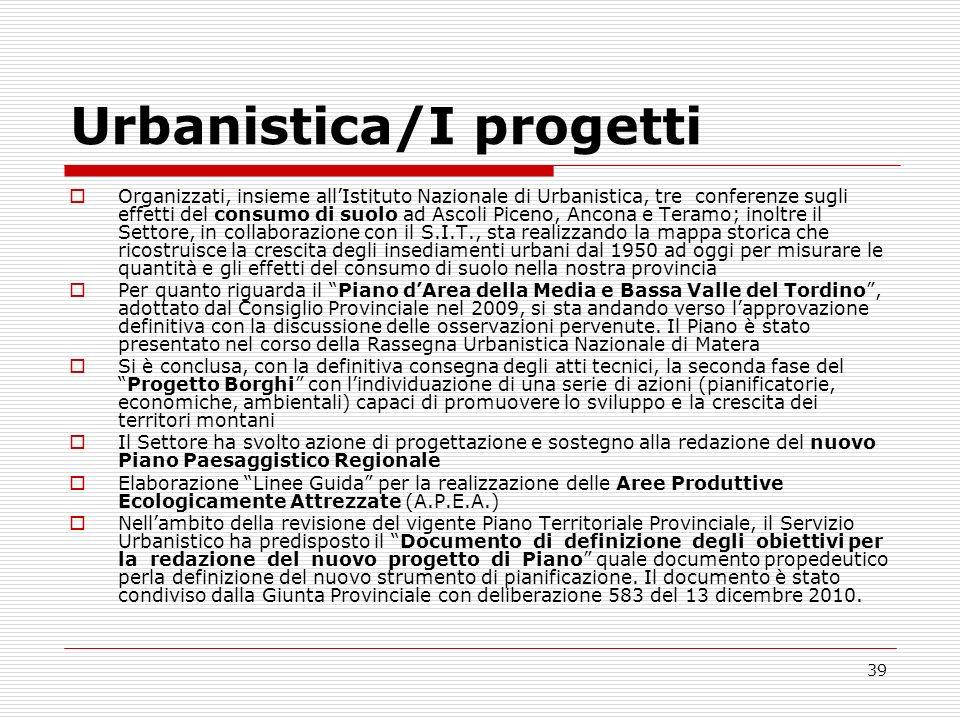 39 Urbanistica/I progetti Organizzati, insieme allIstituto Nazionale di Urbanistica, tre conferenze sugli effetti del consumo di suolo ad Ascoli Picen