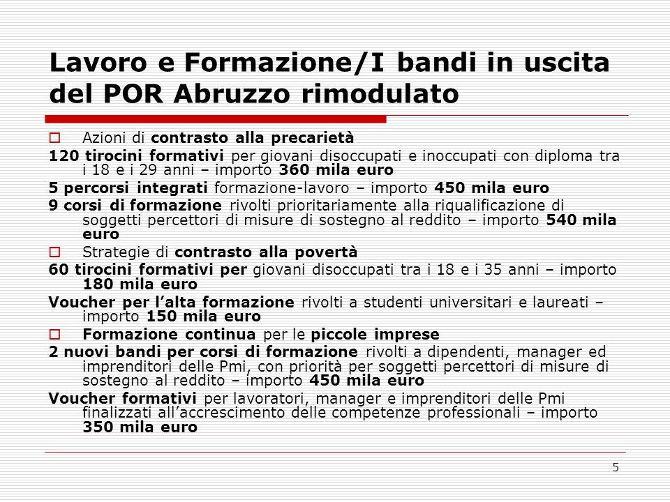5 Lavoro e Formazione/I bandi in uscita del POR Abruzzo rimodulato Azioni di contrasto alla precarietà 120 tirocini formativi per giovani disoccupati