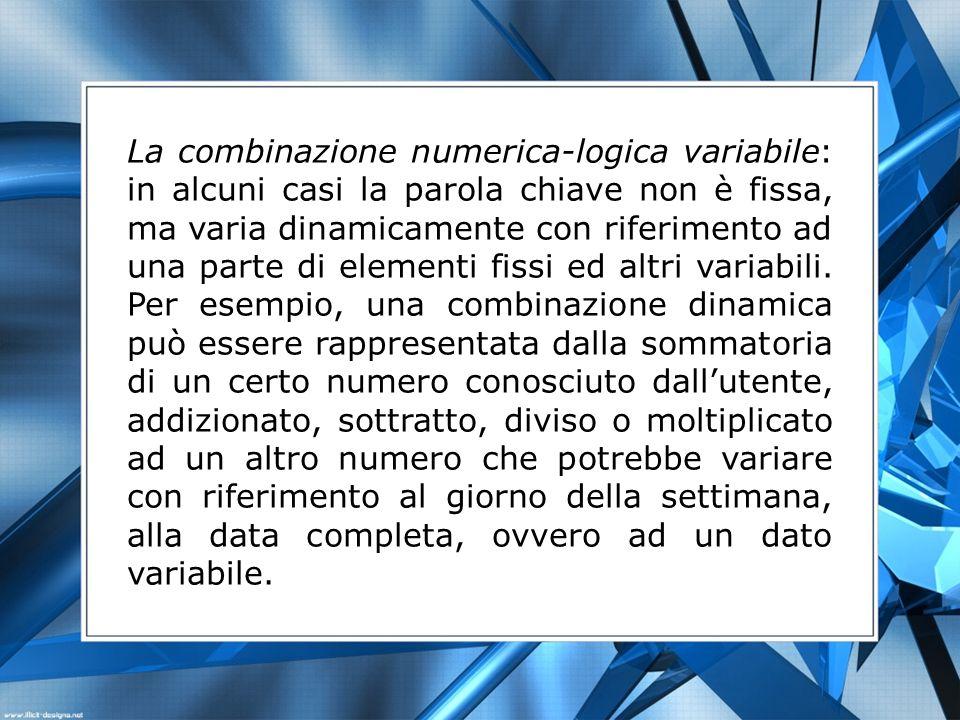 La combinazione numerica-logica variabile: in alcuni casi la parola chiave non è fissa, ma varia dinamicamente con riferimento ad una parte di element