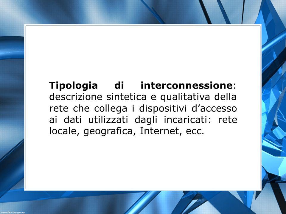 Tipologia di interconnessione: descrizione sintetica e qualitativa della rete che collega i dispositivi daccesso ai dati utilizzati dagli incaricati: