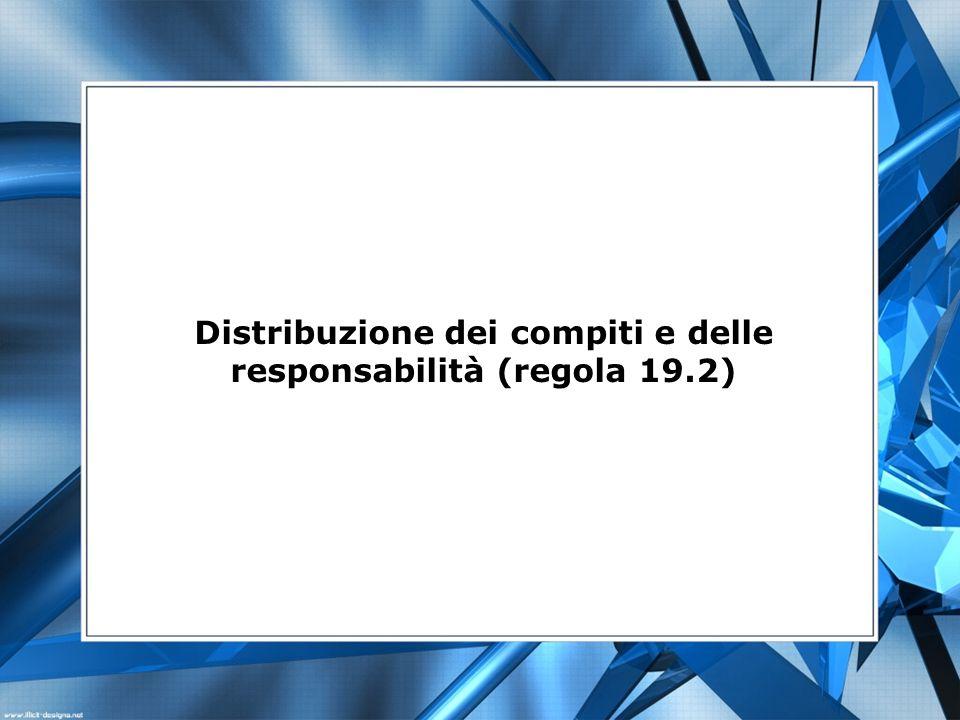 Distribuzione dei compiti e delle responsabilità (regola 19.2)