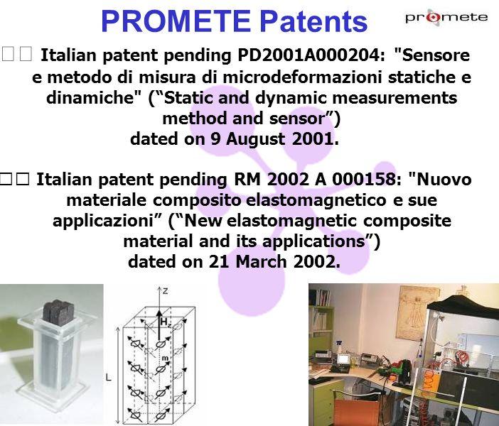 PROMETE Patents Italian patent pending PD2001A000204: