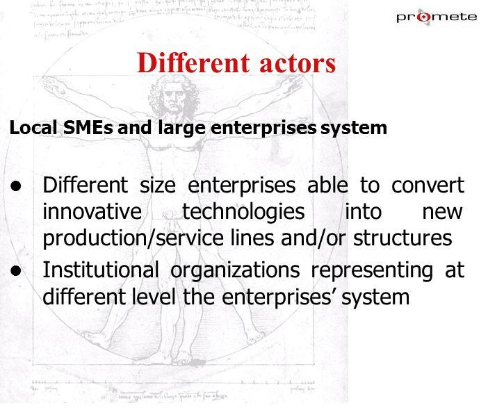 WWW.PROMETE.IT Different actors Local SMEs and large enterprises system Different size enterprises able to convert innovative technologies into new pr