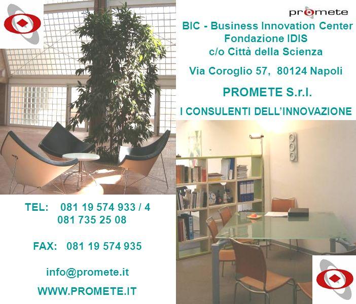 WWW.PROMETE.IT BIC - Business Innovation Center Fondazione IDIS c/o Città della Scienza Via Coroglio 57, 80124 Napoli PROMETE S.r.l. I CONSULENTI DELL