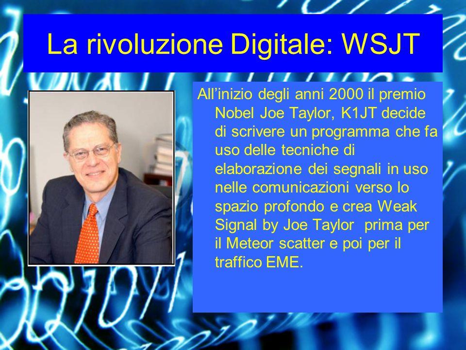 La rivoluzione Digitale: WSJT Allinizio degli anni 2000 il premio Nobel Joe Taylor, K1JT decide di scrivere un programma che fa uso delle tecniche di