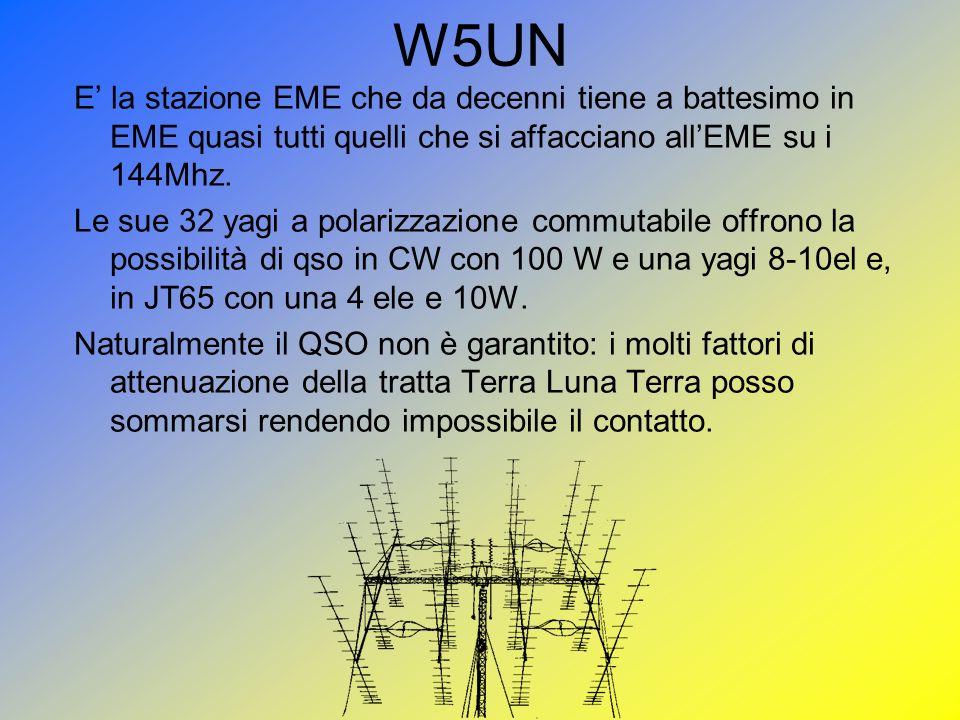 W5UN E la stazione EME che da decenni tiene a battesimo in EME quasi tutti quelli che si affacciano allEME su i 144Mhz. Le sue 32 yagi a polarizzazion