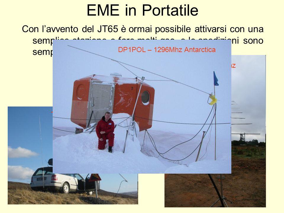 EME in Portatile Con lavvento del JT65 è ormai possibile attivarsi con una semplice stazione e fare molti qso, e le spedizioni sono sempre più frequen