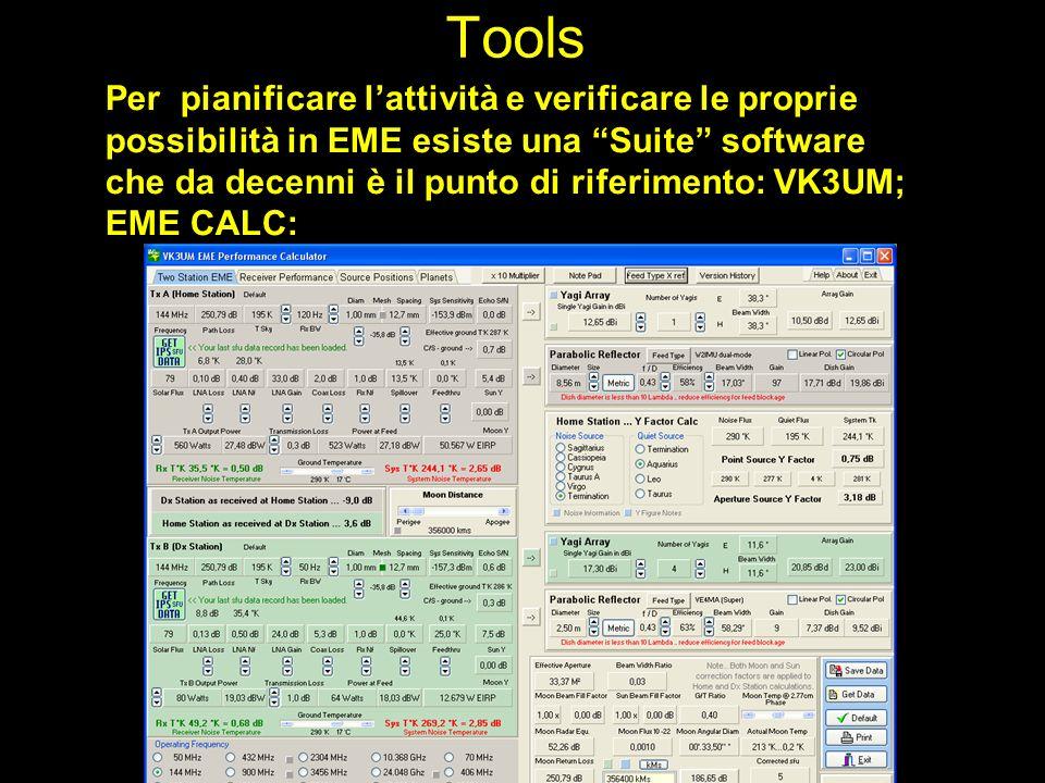 Tools Per pianificare lattività e verificare le proprie possibilità in EME esiste una Suite software che da decenni è il punto di riferimento: VK3UM;