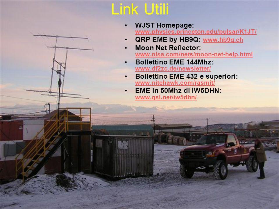 Link Utili WJST Homepage: www.physics.princeton.edu/pulsar/K1JT/ www.physics.princeton.edu/pulsar/K1JT/ QRP EME by HB9Q: www.hb9q.ch www.hb9q.ch Moon