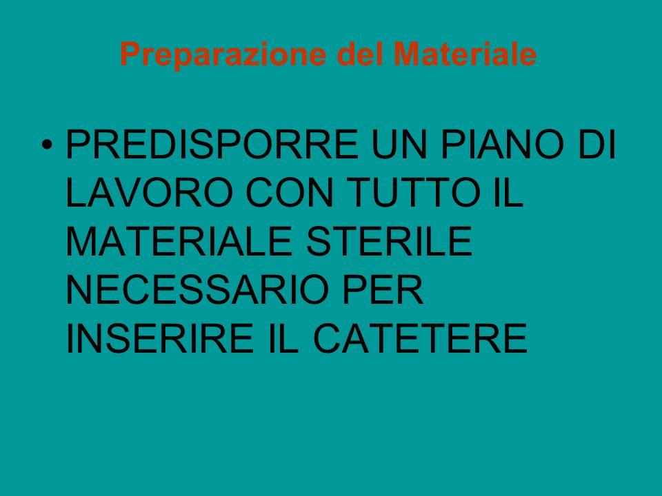 Preparazione del Materiale PREDISPORRE UN PIANO DI LAVORO CON TUTTO IL MATERIALE STERILE NECESSARIO PER INSERIRE IL CATETERE