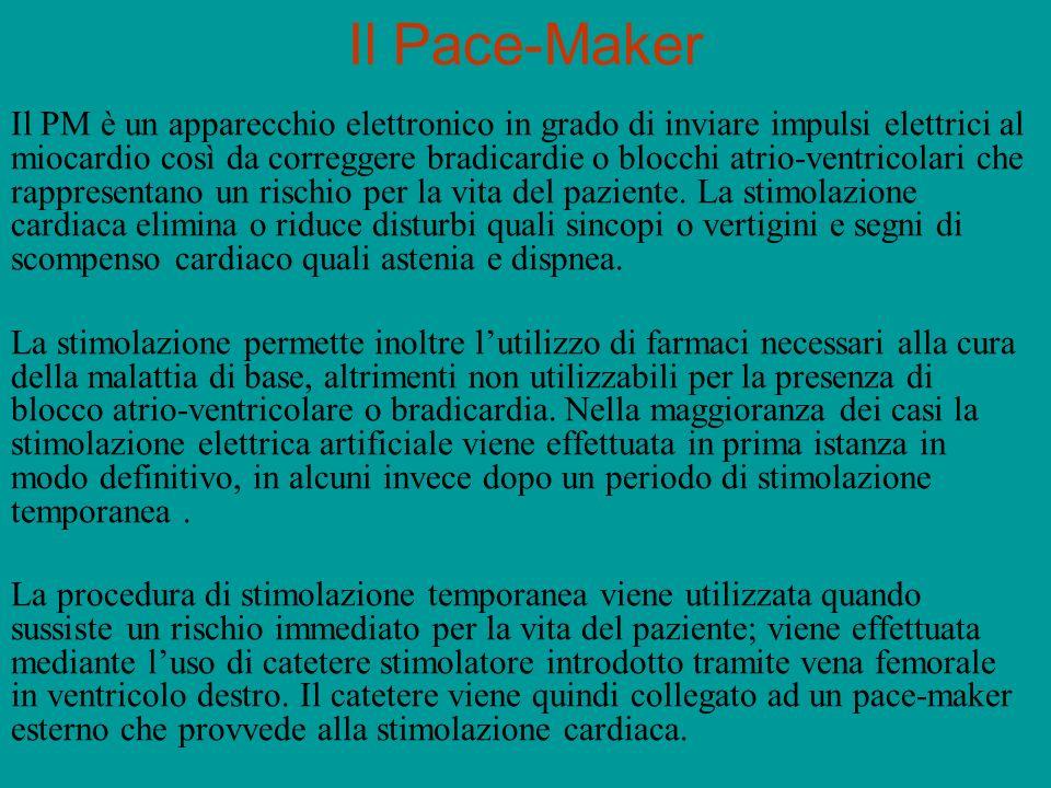 Il Pace-Maker Il PM è un apparecchio elettronico in grado di inviare impulsi elettrici al miocardio così da correggere bradicardie o blocchi atrio-ven