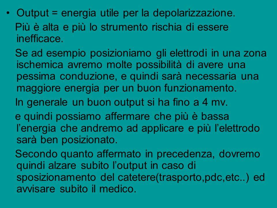 Output = energia utile per la depolarizzazione. Più è alta e più lo strumento rischia di essere inefficace. Se ad esempio posizioniamo gli elettrodi i