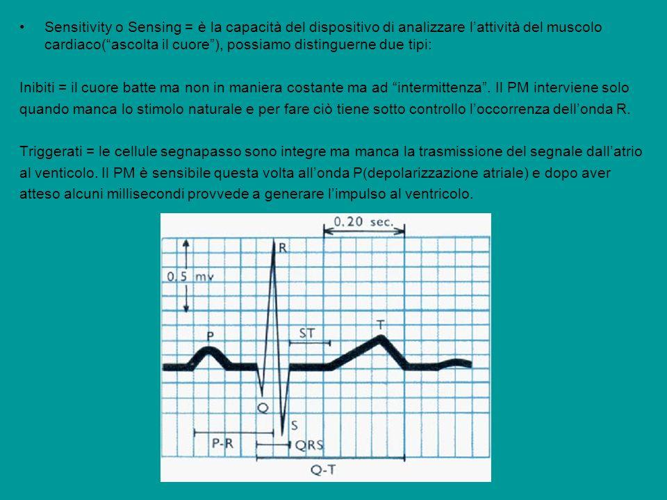 Sensitivity o Sensing = è la capacità del dispositivo di analizzare lattività del muscolo cardiaco(ascolta il cuore), possiamo distinguerne due tipi: