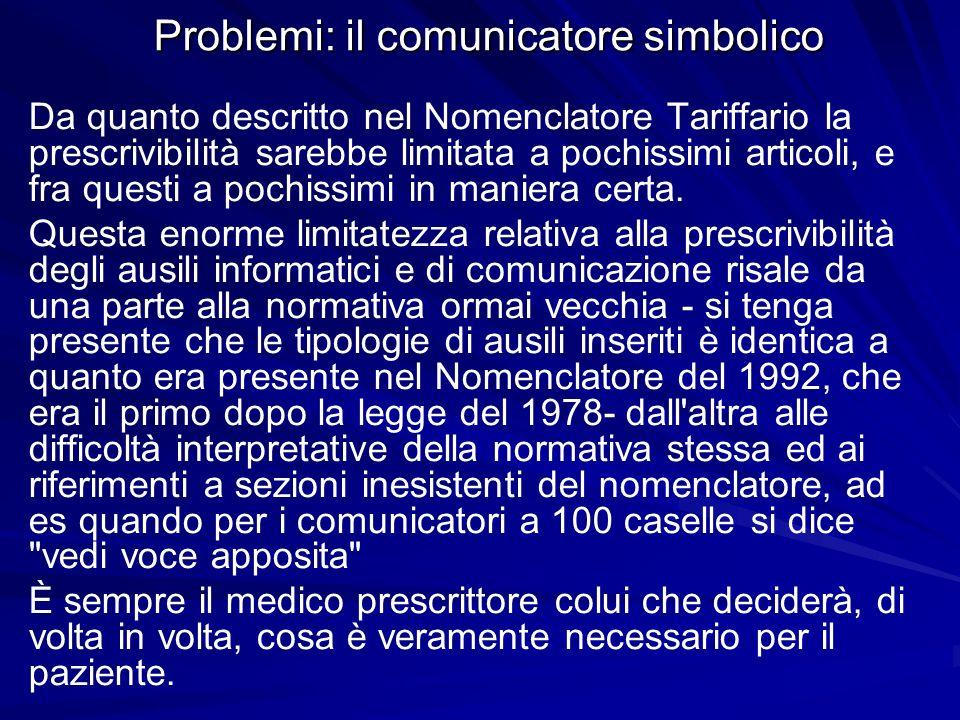 Problemi: il comunicatore simbolico Da quanto descritto nel Nomenclatore Tariffario la prescrivibilità sarebbe limitata a pochissimi articoli, e fra q