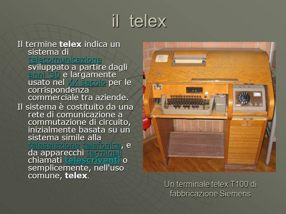 il telex Il termine telex telex indica un sistema di telecomunicazione sviluppato a partire dagli anni '30'30 '30 '30e largamente usato nel XX secolos