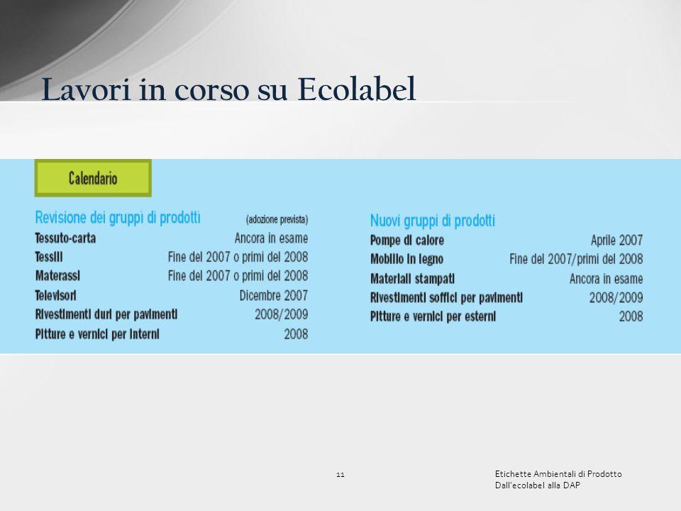 11Etichette Ambientali di Prodotto Dallecolabel alla DAP Lavori in corso su Ecolabel