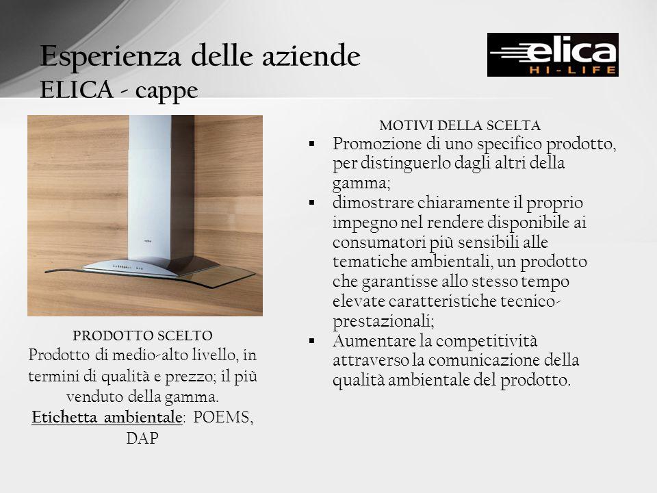 Esperienza delle aziende ELICA - cappe MOTIVI DELLA SCELTA Promozione di uno specifico prodotto, per distinguerlo dagli altri della gamma; dimostrare