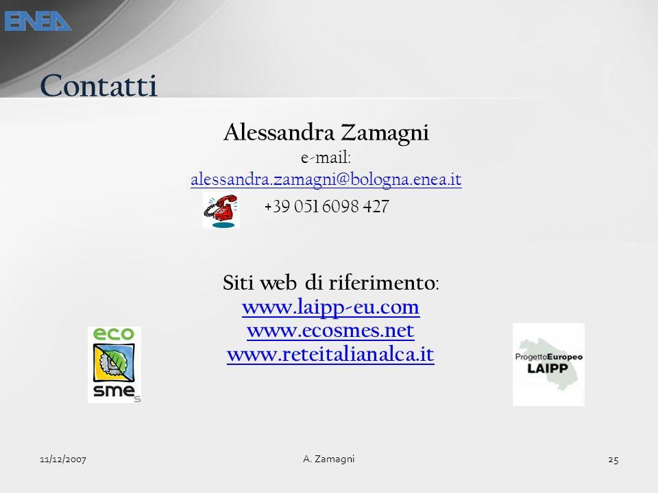 Siti web di riferimento : www.laipp-eu.com www.ecosmes.net www.reteitalianalca.it Contatti 11/12/200725A. Zamagni Alessandra Zamagni e-mail: alessandr