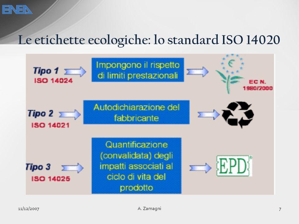 Le etichette ecologiche: lo standard ISO 14020 11/12/20077A. Zamagni