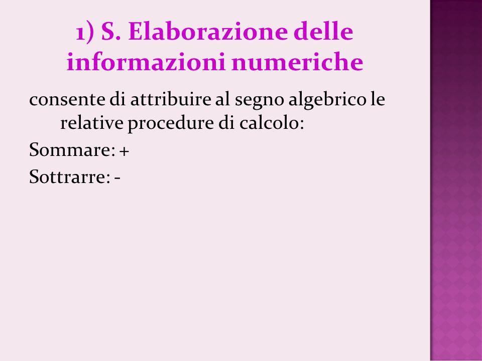 1) S. Elaborazione delle informazioni numeriche consente di attribuire al segno algebrico le relative procedure di calcolo: Sommare: + Sottrarre: -