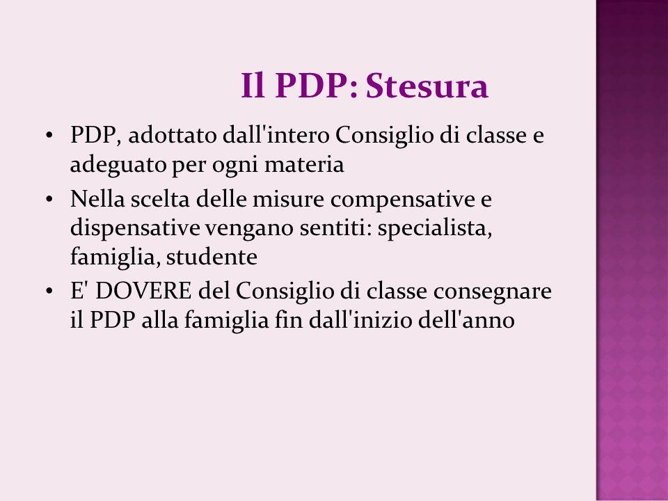 Il PDP: Stesura PDP, adottato dall'intero Consiglio di classe e adeguato per ogni materia Nella scelta delle misure compensative e dispensative vengan