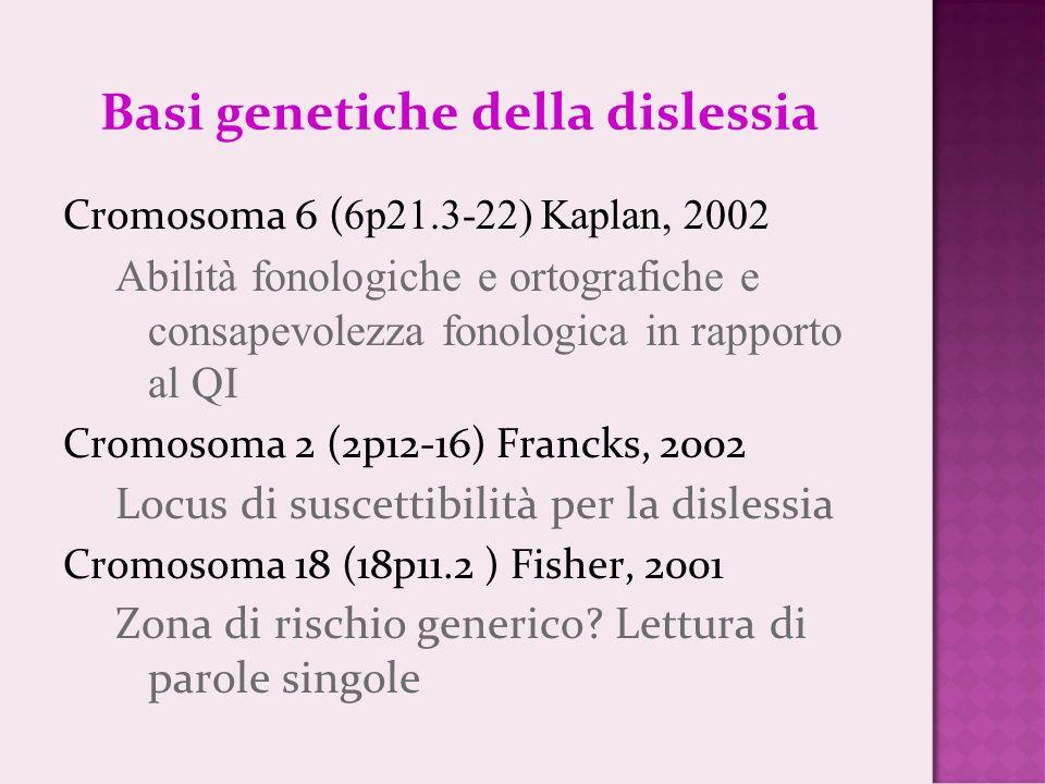 Basi genetiche della dislessia Cromosoma 6 ( 6p21.3-22) Kaplan, 2002 Abilità fonologiche e ortografiche e consapevolezza fonologica in rapporto al QI Cromosoma 2 (2p12-16) Francks, 2002 Locus di suscettibilità per la dislessia Cromosoma 18 (18p11.2 ) Fisher, 2001 Zona di rischio generico.
