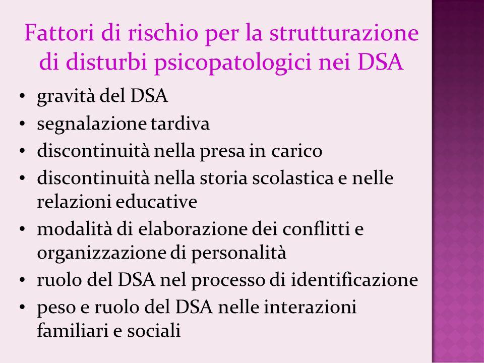 Fattori di rischio per la strutturazione di disturbi psicopatologici nei DSA gravità del DSA segnalazione tardiva discontinuità nella presa in carico