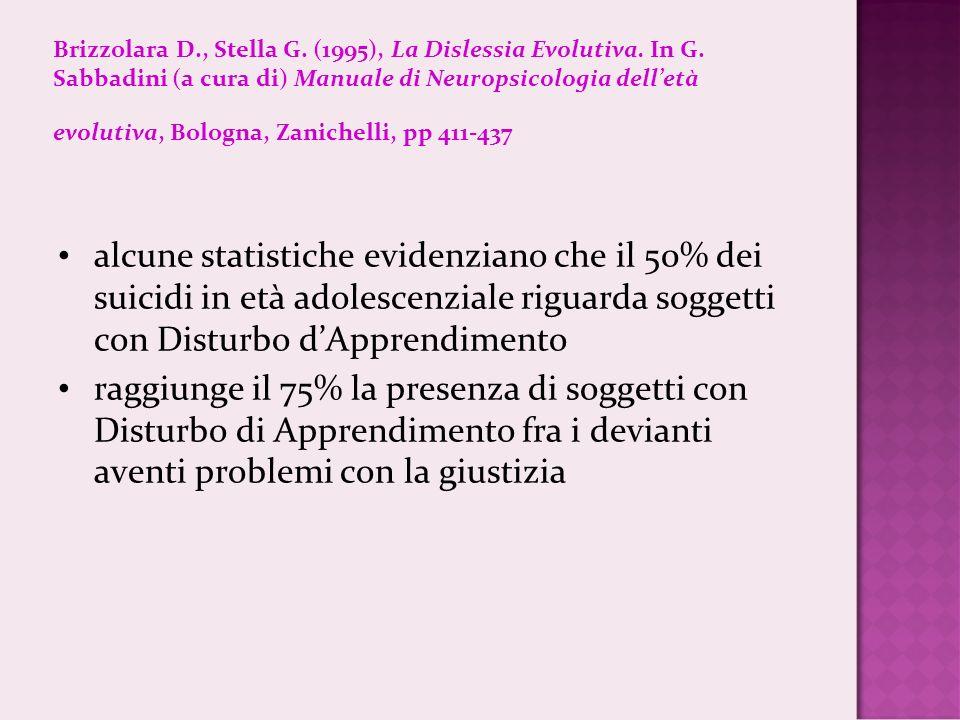 Brizzolara D., Stella G. (1995), La Dislessia Evolutiva. In G. Sabbadini (a cura di) Manuale di Neuropsicologia delletà evolutiva, Bologna, Zanichelli