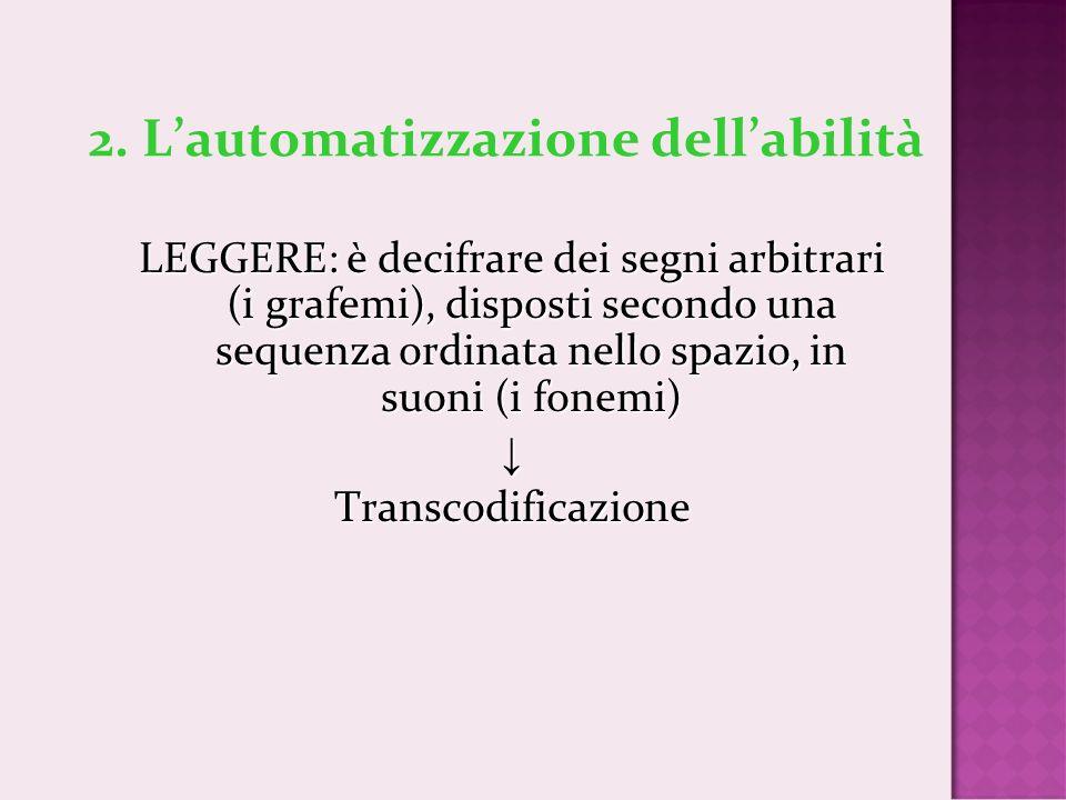 2. Lautomatizzazione dellabilità LEGGERE: è decifrare dei segni arbitrari (i grafemi), disposti secondo una sequenza ordinata nello spazio, in suoni (