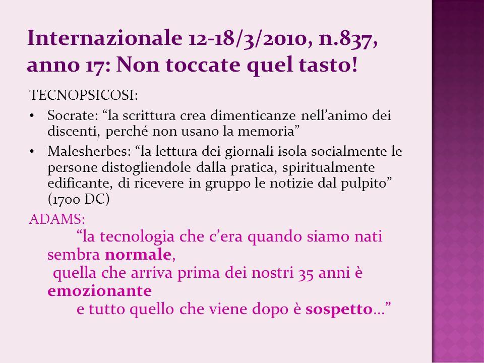 Internazionale 12-18/3/2010, n.837, anno 17: Non toccate quel tasto.