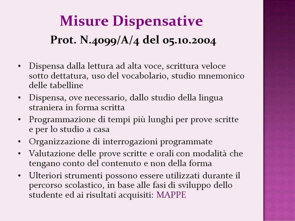 Misure Dispensative Prot. N.4099/A/4 del 05.10.2004 Dispensa dalla lettura ad alta voce, scrittura veloce sotto dettatura, uso del vocabolario, studio