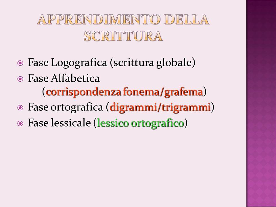 Fase Logografica (scrittura globale) Fase Logografica (scrittura globale) Fase Alfabetica (corrispondenza fonema/grafema) Fase Alfabetica (corrisponde
