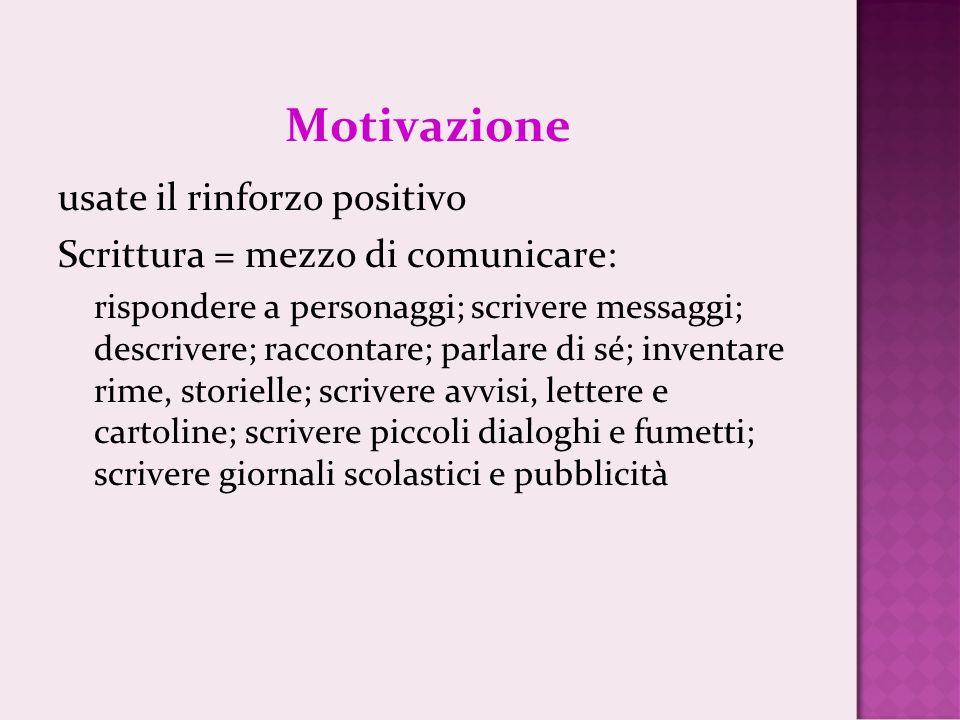 Motivazione usate il rinforzo positivo Scrittura = mezzo di comunicare: rispondere a personaggi; scrivere messaggi; descrivere; raccontare; parlare di