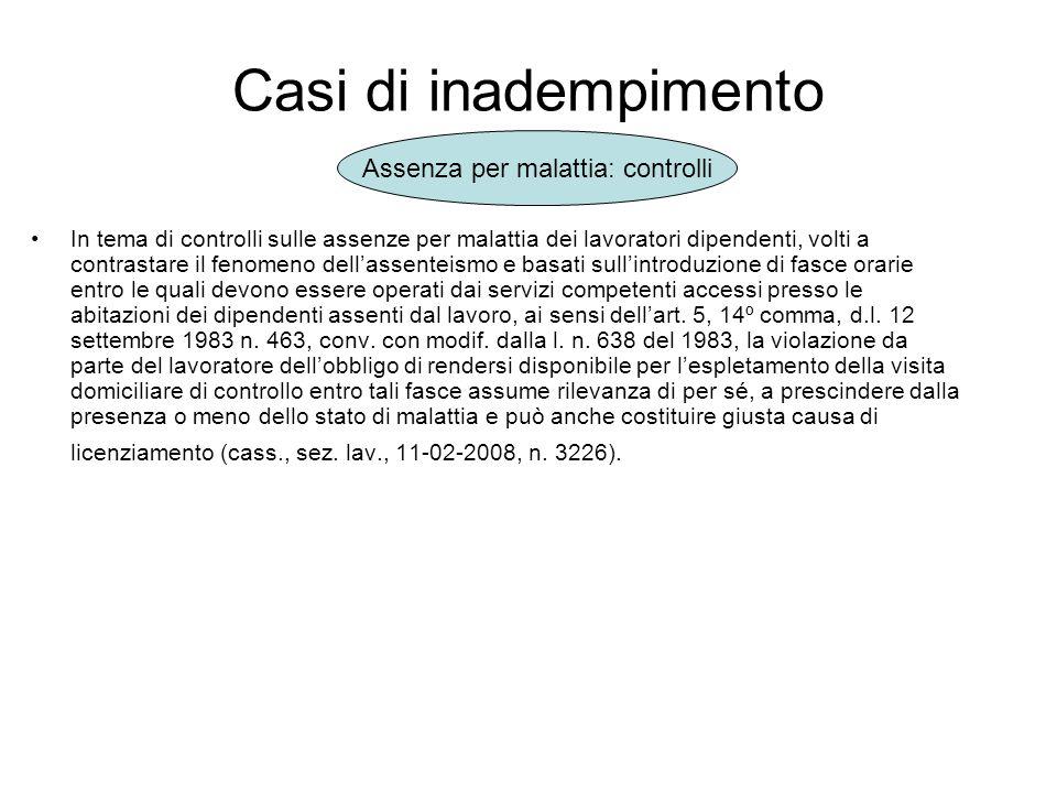 Inadempimento ed uso delle attrezzature informatiche A.