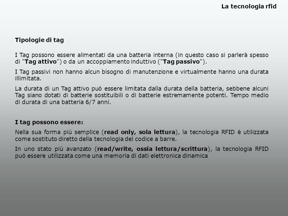 Tipologie di tag I Tag possono essere alimentati da una batteria interna (in questo caso si parlerà spesso di Tag attivo ) o da un accoppiamento induttivo ( Tag passivo ).
