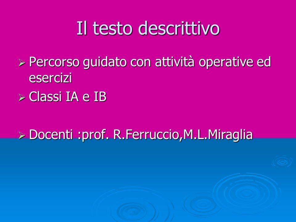 Il testo descrittivo Percorso guidato con attività operative ed esercizi Percorso guidato con attività operative ed esercizi Classi IA e IB Classi IA