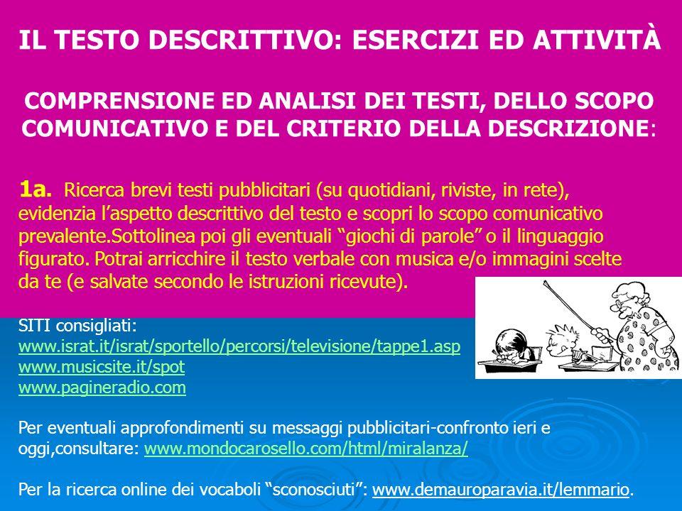 IL TESTO DESCRITTIVO: ESERCIZI ED ATTIVITÀ COMPRENSIONE ED ANALISI DEI TESTI, DELLO SCOPO COMUNICATIVO E DEL CRITERIO DELLA DESCRIZIONE: 1a. Ricerca b
