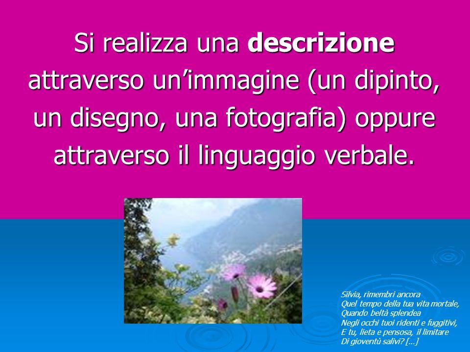 Si realizza una descrizione attraverso unimmagine (un dipinto, un disegno, una fotografia) oppure attraverso il linguaggio verbale. Silvia, rimembri a
