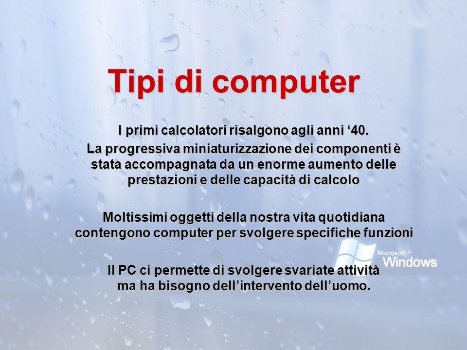 Tipi di computer I primi calcolatori risalgono agli anni 40. La progressiva miniaturizzazione dei componenti è stata accompagnata da un enorme aumento