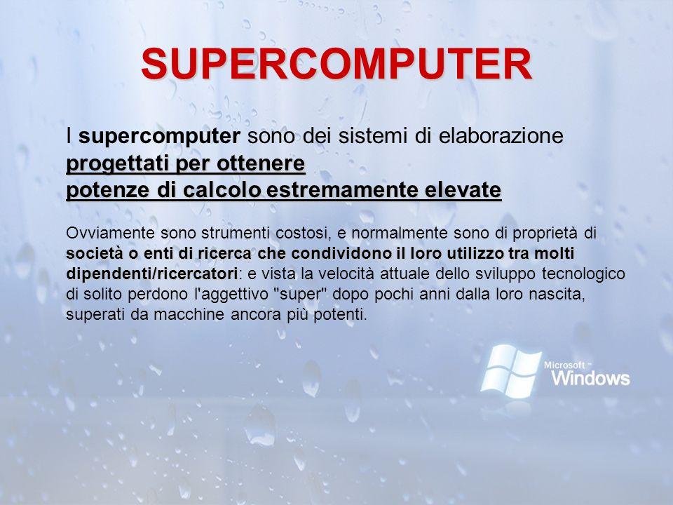 SUPERCOMPUTER progettati per ottenere potenze di calcolo estremamente elevate società o enti di ricerca che condividono il loro utilizzo tra molti dip