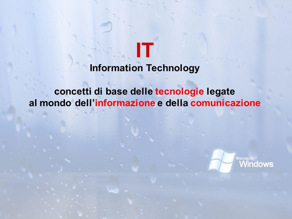 IT IT Information Technology concetti di base delle tecnologie legate al mondo dellinformazione e della comunicazione
