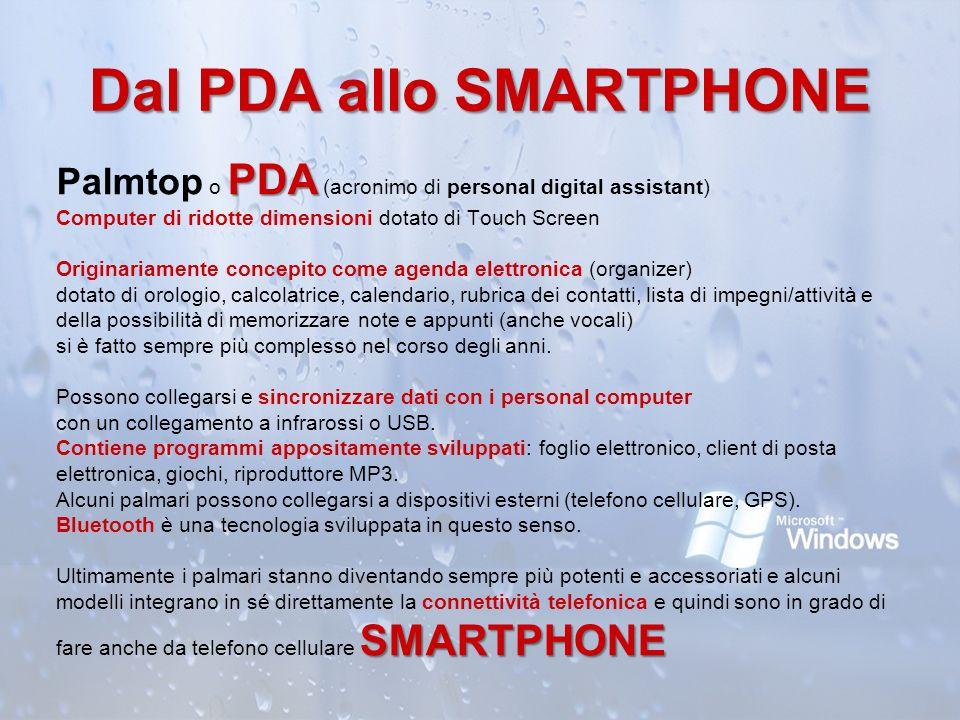 Dal PDA allo SMARTPHONE PDA Palmtop o PDA (acronimo di personal digital assistant) Computer di ridotte dimensioni dotato di Touch Screen Originariamen