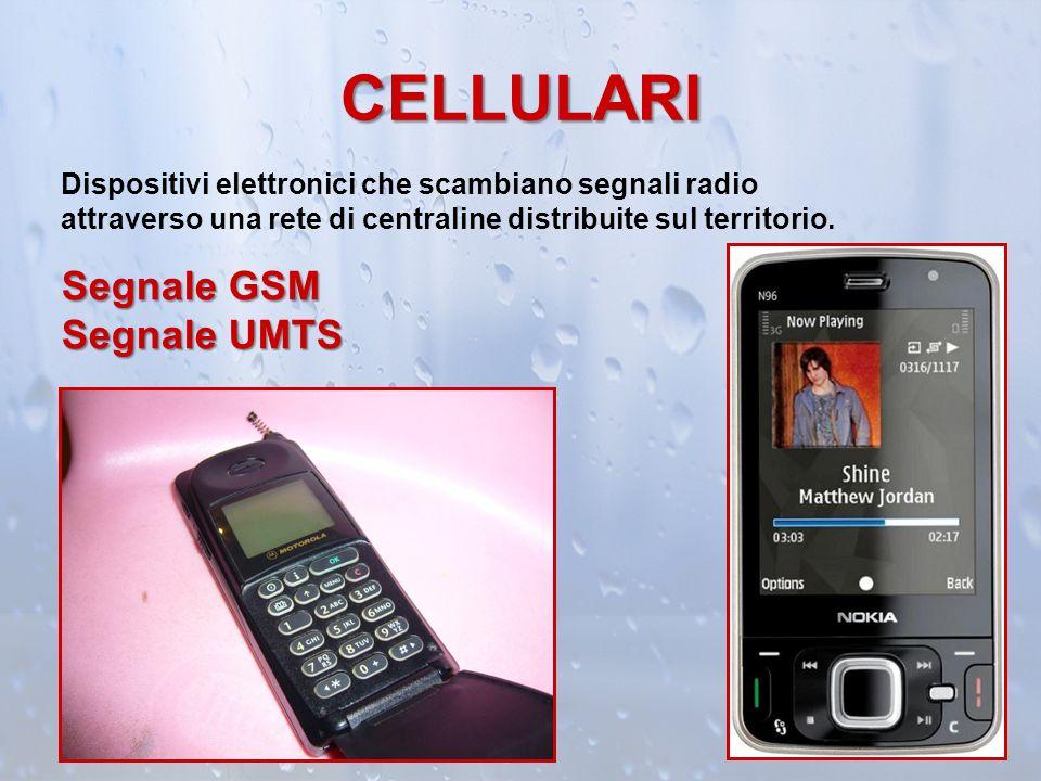 CELLULARI Dispositivi elettronici che scambiano segnali radio attraverso una rete di centraline distribuite sul territorio. Segnale GSM Segnale UMTS