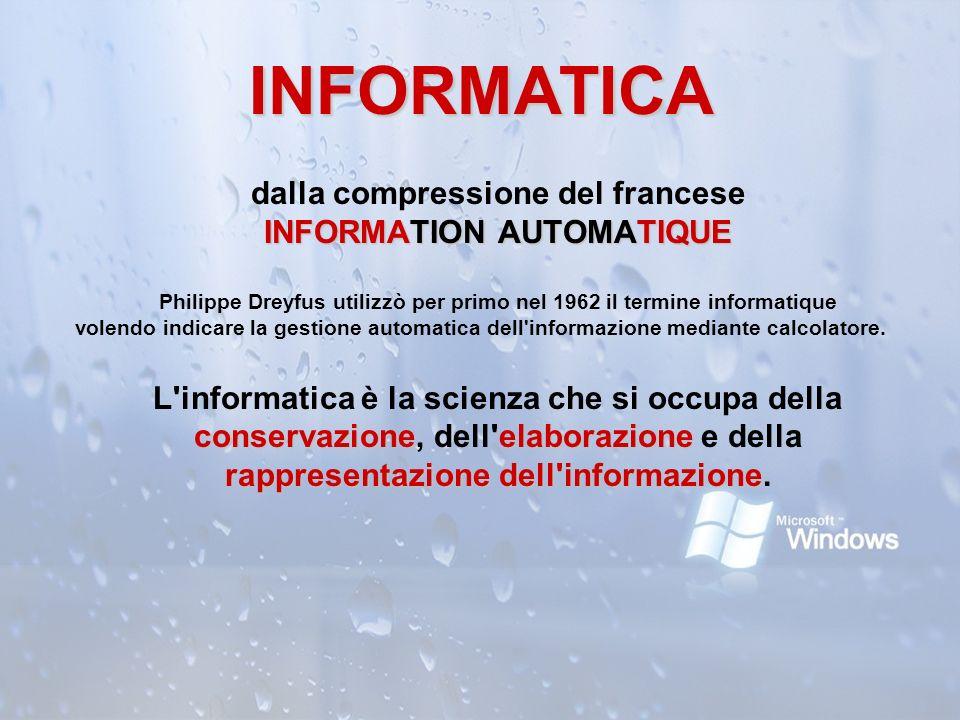INFORMATICA dalla compressione del francese INFORMATION AUTOMATIQUE INFORMATION AUTOMATIQUE Philippe Dreyfus utilizzò per primo nel 1962 il termine in