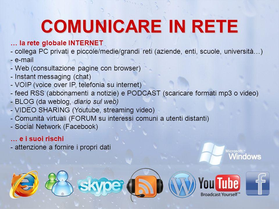 COMUNICARE IN RETE … la rete globale INTERNET - collega PC privati e piccole/medie/grandi reti (aziende, enti, scuole, università…) - e-mail - Web (co